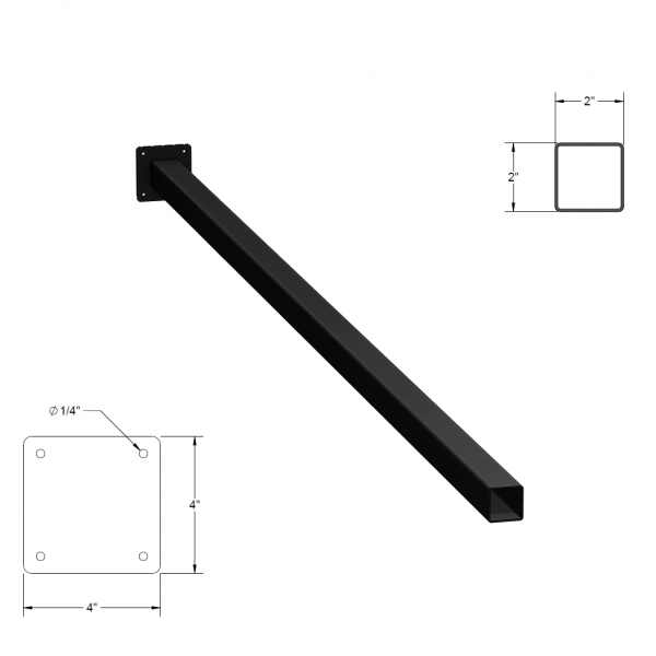 Iron Fence Post with Mounting Plate - 2-inchx2-inchx7-foot