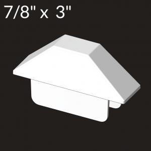 7/8-inch x 3-inch Vinyl Picket Cap - Dog Ear - White