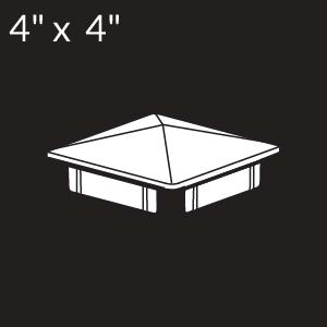 4-inch x 4-inch Vinyl Post Cap - Internal Flange - White
