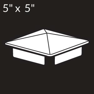 5-inch x 5-inch Vinyl Post Cap - Internal Flange - White
