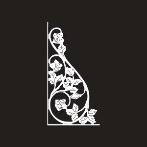Vinyl Rose Scroll Insert - Medium - White