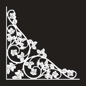 Vinyl Rose Scroll Insert - Large - White