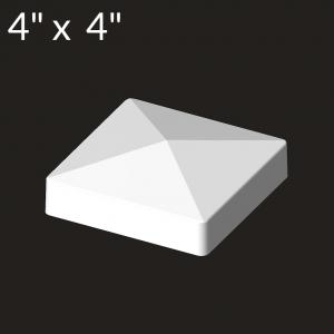 4-inch x 4-inch Vinyl Post Cap - Deep Flange - White