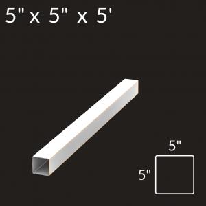 5-inch x 5-inch x 5-foot Vinyl Fence Post - Blank - White