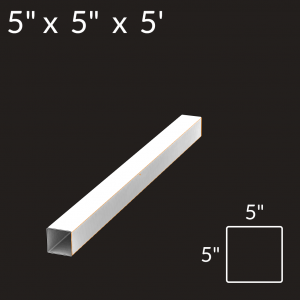 5-inch x 5-inch x 5-foot Vinyl Fence Post - 2-Rail - End - White