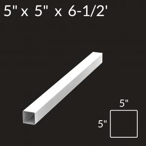 5-inch x 5-inch x 6-1/2-foot Vinyl Fence Post - 3-Rail - Corner - White
