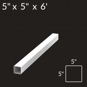 5-inch x 5-inch x 6-foot Vinyl Fence Post - Blank - White