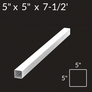 5-inch x 5-inch x 7-1/2-foot Vinyl Fence Post - 4-Rail - Line - White