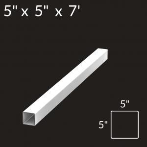 5-inch x 5-inch x 7-foot Vinyl Fence Post - 3-Rail - End - White