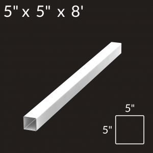 5-inch x 5-inch x 8-foot Vinyl Fence Post - End - White