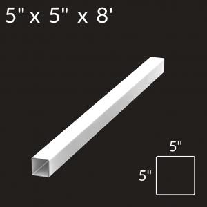 5-inch x 5-inch x 8-foot Vinyl Fence Post - Blank - White