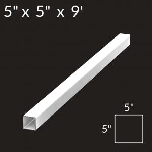 5-inch x 5-inch x 9-foot Vinyl Fence Post - Blank - White
