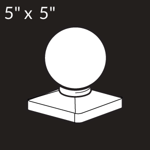 5-inch x 5-inch Vinyl Post Cap - Ball - White