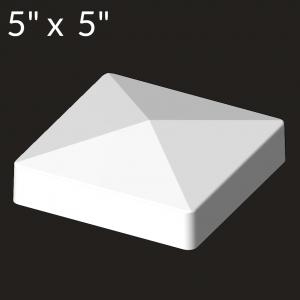 5-inch x 5-inch Vinyl Post Cap - Deep Flange - White