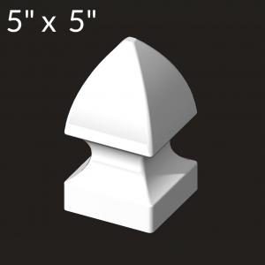 5-inch x 5-inch Vinyl Post Cap - Gothic - White