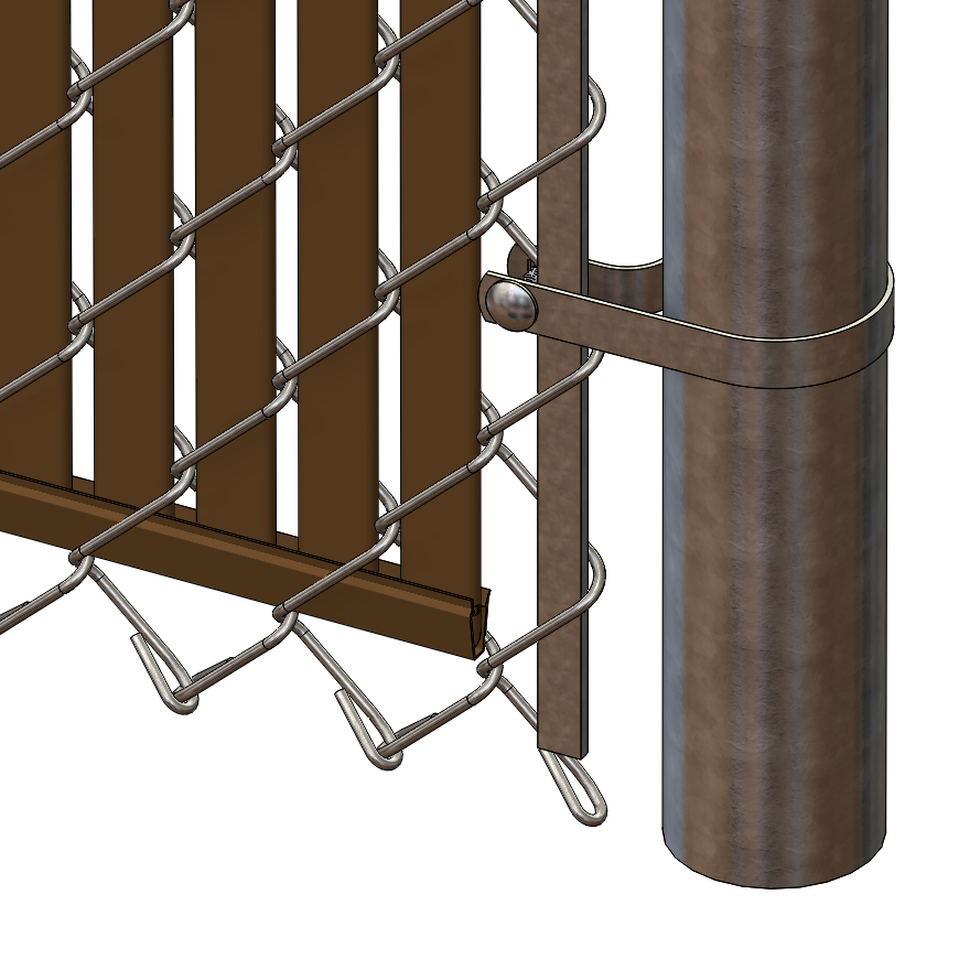 Pds bl chain link fence slats bottom lock foot brown