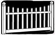 5-foot x 8-foot Vinyl Fence Panel - Ashton - Scalloped - Narrow Picket Spacing - White