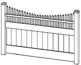 6-foot x 48-inch Vinyl Fence Gate - Privacy - Cambridge - Scalloped - White