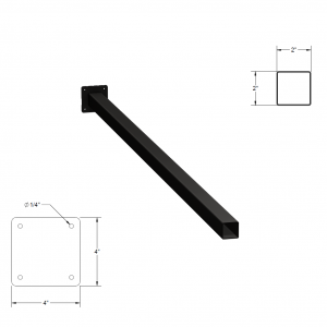 Iron Fence Post with Mounting Plate - 2-inchx2-inchx6-foot