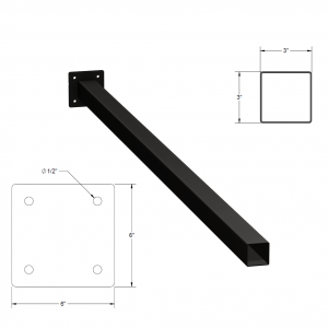 Iron Fence Post with Mounting Plate - 3-inchx3-inchx8-foot