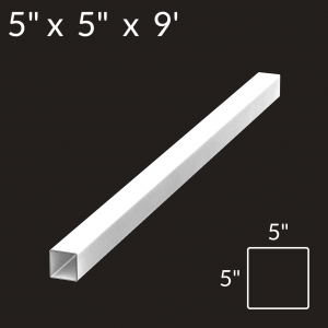 5-inch x 5-inch x 9-foot Vinyl Fence Post - Line - White