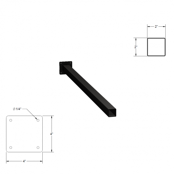 Iron Fence Post with Mounting Plate - 2-inchx2-inchx4-foot-6-inch
