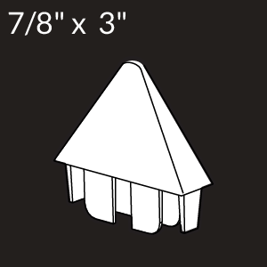 7/8-inch x 3-inch Vinyl Picket Cap - Pointed - White