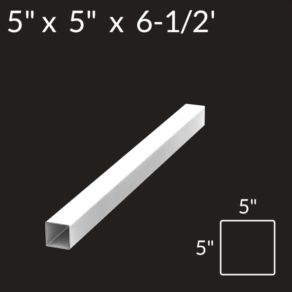 5-inch x 5-inch x 6-1/2-foot Vinyl Fence Post - End - White