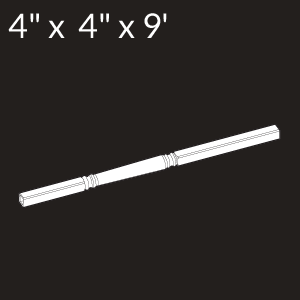 5-inch x 5-inch x 9-foot Vinyl Porch Support Post Kit - White