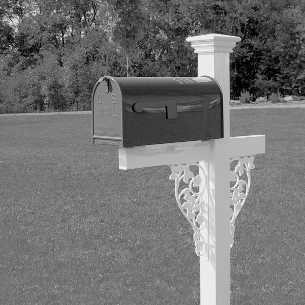 Vinyl Mailbox Stand - Victorian - Double Rose - White